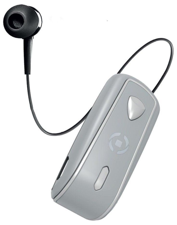 Celly Snails headset s klipem a navijákem BHSNAILSV, stříbrný