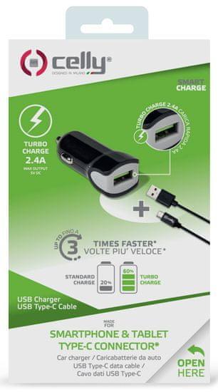 CELLY Autonabíjačka + USB-C kábel, čierna