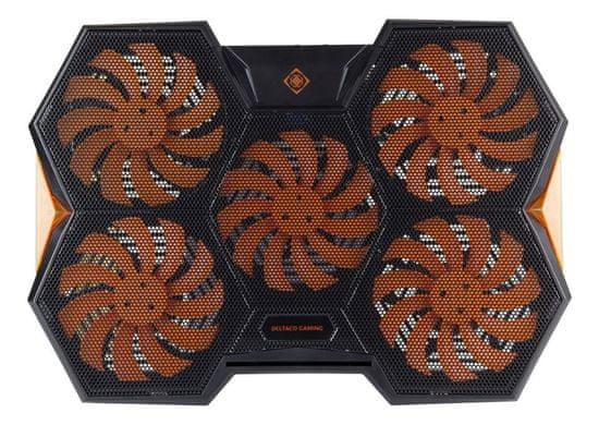 DELTACO GAM-072 stalak za hlađenje prijenosnog računala, 5 ventilatora