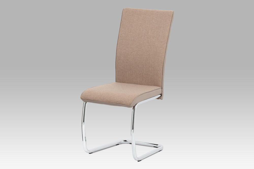 Autronic Jídelní židle v kombinaci látky a ekokůže v barvě cappuccino DCL-455 CAP2