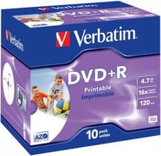 VERBATIM DVD+R AZO 4,7GB, 16x, printable, jewel case 10 ks (43508)