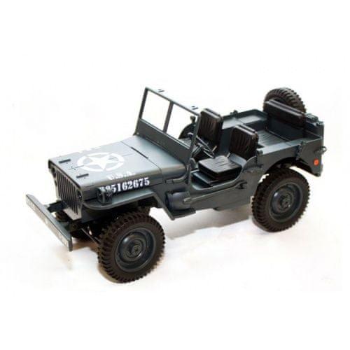 Legendární Jeep Willys 1:12 plně proporcionální, 4x4 šedý