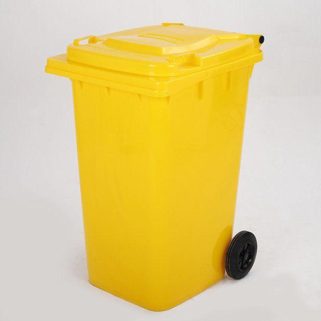 Maxeuro D120Y Popelnice 120L žlutá plastová s kolečky