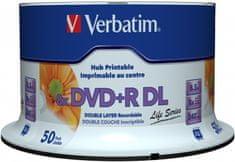 VERBATIM DVD+R DL AZO 8,5GB, 8x, printable, inverse stack, spindle 50 ks (97693)