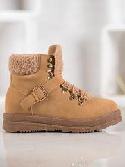 Vices Pěkné kotníčkové boty hnědé dámské na plochém podpatku + Ponožky Gatta Calzino Strech, odstíny hnědé a béžové, 36