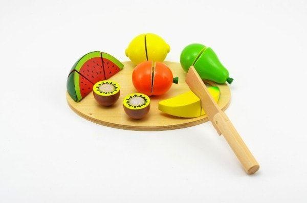 Teddies Ovoce krájecí s prkénkem dřevo 17ks 21,5x15x7cm v krabici od 24 měsíců