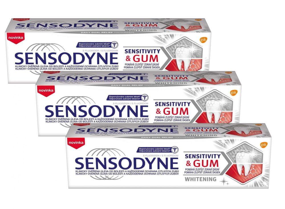 Sensodyne Sensitivity&Gum Whitening zubní pasta 3x 75 ml