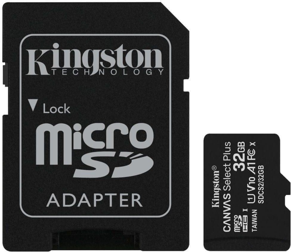 Kingston Micro SDHC Canvas Select Plus 100R 32GB 100MB/s UHS-I + adaptér (SDCS2/32GB)