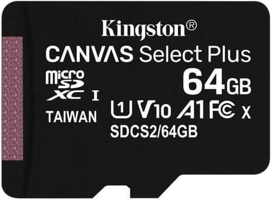 Kingston Micro SDXC Canvas Select Plus 100R 64GB 100MB/s UHS-I + adaptér (SDCS2/64GB)