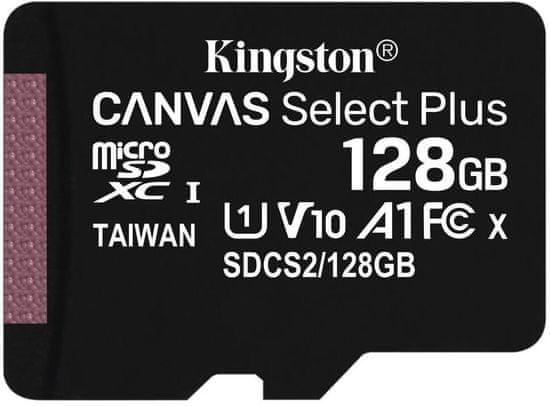 Kingston Micro SDXC Canvas Select Plus 100R 128GB 100MB/s UHS-I + adaptér (SDCS2/128GB)
