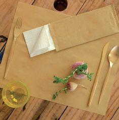 INFIBRA Papírová kapsička na příbory Infibra Natur s bílým ubrouskem - 125ks