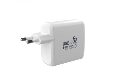 MAX omrežni polnilec zUSB, USB/A + USB/C sfunkcijo QuickCharge, bel