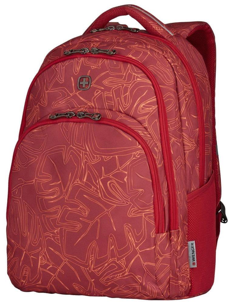 """Wenger UPLOAD - 16"""" batoh na notebook, červený outline print (606472)"""