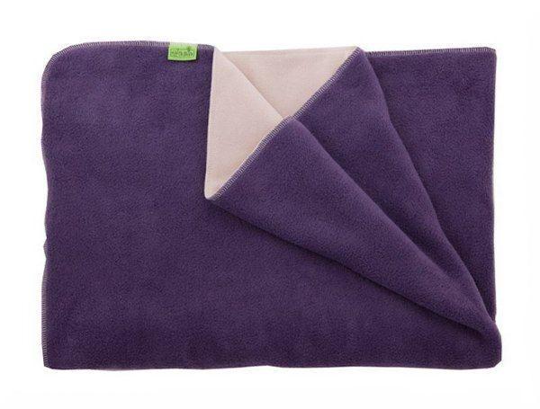 Haipa-daipa Fleecová deka do kočárku- teplá, fialová/béžová 70x100cm