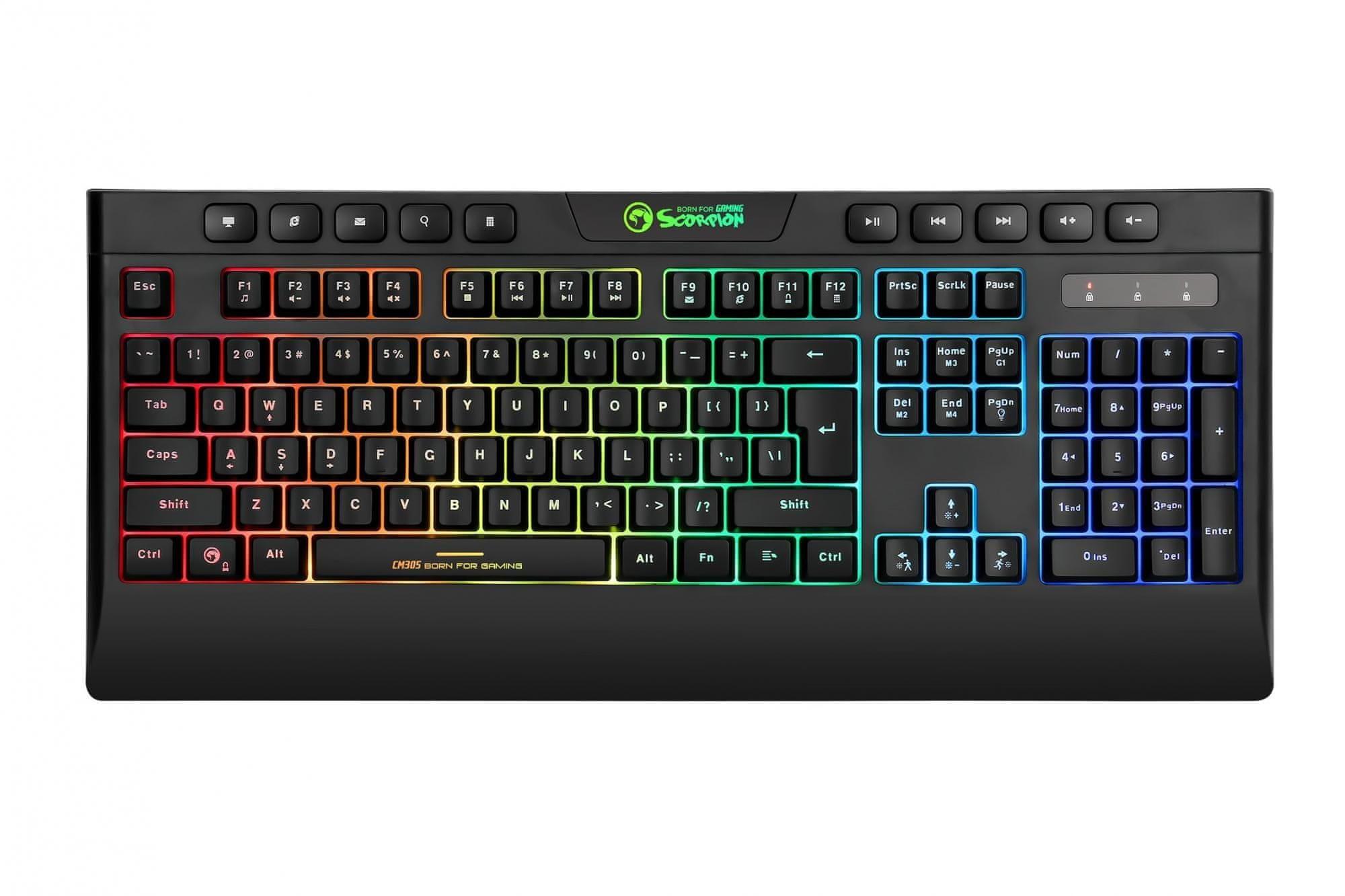 Marvo CM305, herní set, US (CM305 US) herní klávesnice herní myš antighosting 26 kláves 1,5 m kabel USB 2.0 optický senzor protiskluzové strany