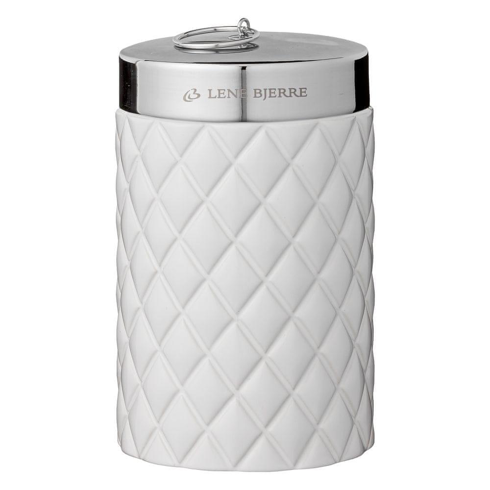 Lene Bjerre Vysoká koupelnová dóza s víčkem PORTIA bílá se stříbrným víčkem
