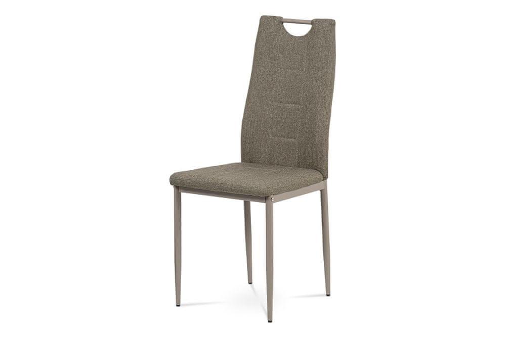Autronic Jídelní židle, cappuccino látka, kov cappuccino lesk DCL-393 CAP2