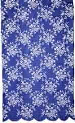 Lene Bjerre Modra tekalna površina za mizo CATIE z belo vezenino, 50 x 140 cm