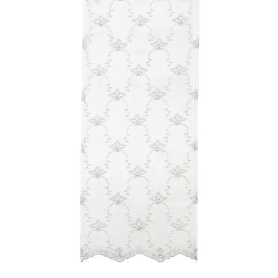 Lene Bjerre ALMALIA futófelület, fehér, ezüst hímzéssel, 160 x 50 cm