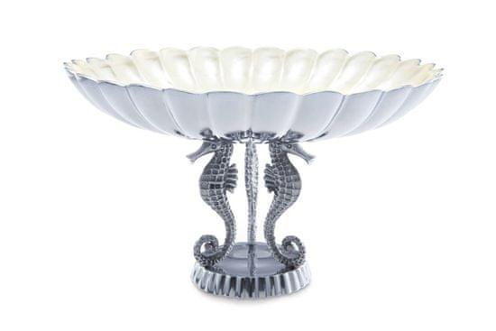 Julia Knight Veľká luxusné misa na podstavci z morských koníkov SEA HORSE, smotanovo biela