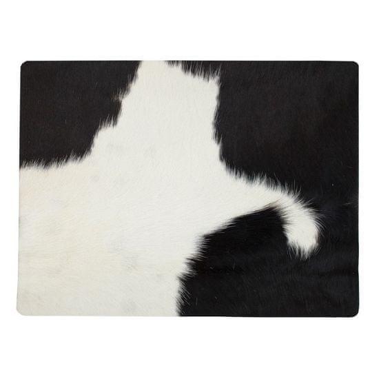 Mars & More Kožené prestieranie s dizajnom kravskej kože, bielo čierne 30 x 40 cm