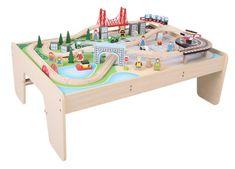 Bigjigs Rail Wielka kolejka drewniana ze stołem 59 elementów