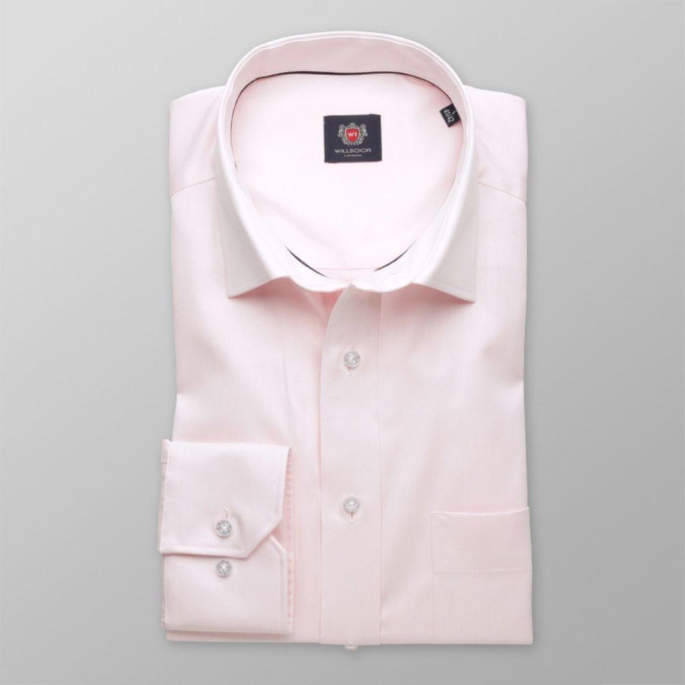 Willsoor Pánská klasická košile London 8328 v růžové barvě s úpravou easy care