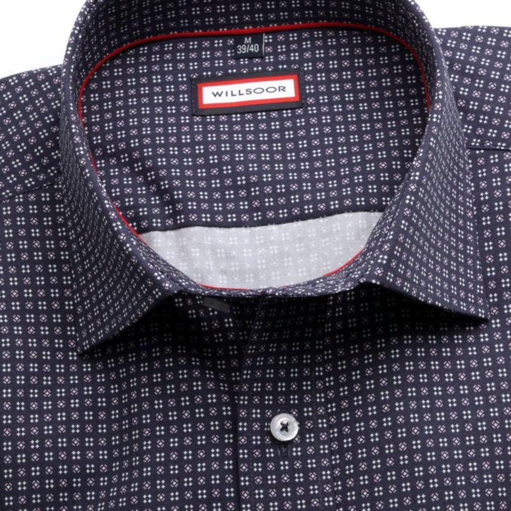 Willsoor Pánská slim fit košile 7757 v modré barvě s úpravou easy care