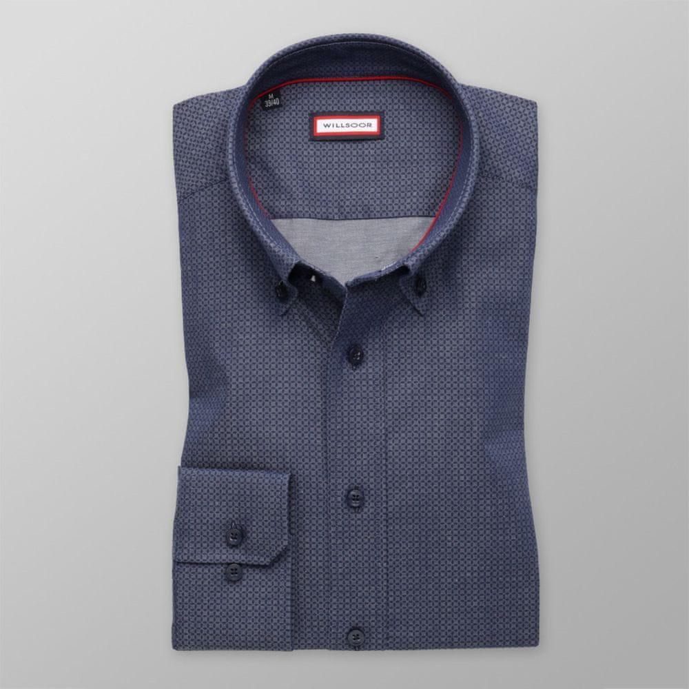 Willsoor Pánská slim fit košile 8334 v šedé barvě s úpravou easy care