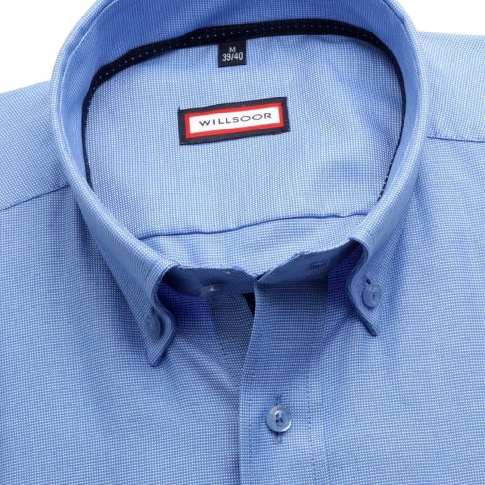 Willsoor Pánská slim fit košile 6983 ve světle modré barvě s límečkem na knoflíčky