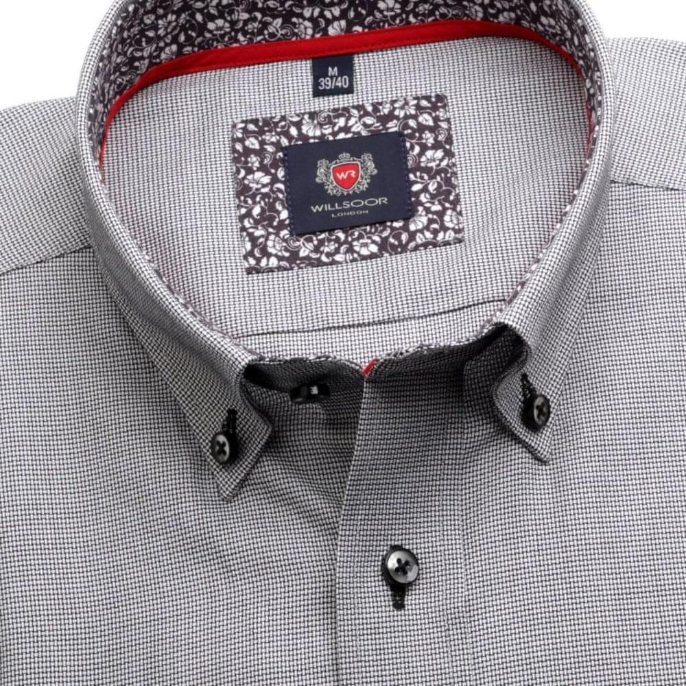 Willsoor Pánská slim fit košile London 6893 v šedé barvě s límečkem na knoflíčky