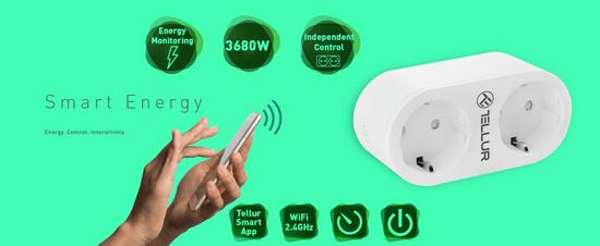 Tellur Wi-Fi AC pametna vtičnica, dvojna, 16 A