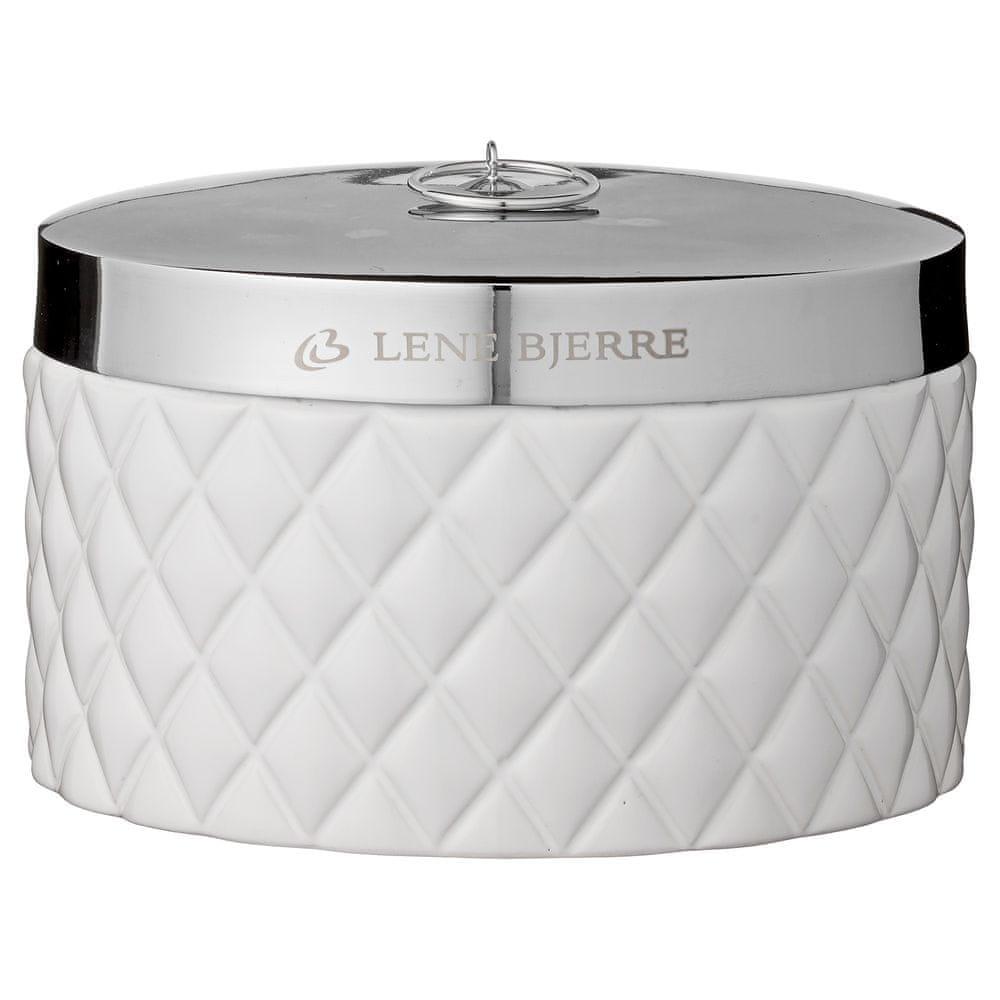 Lene Bjerre Nízká koupelnová dóza s víčkem PORTIA bílá se stříbrným víčkem