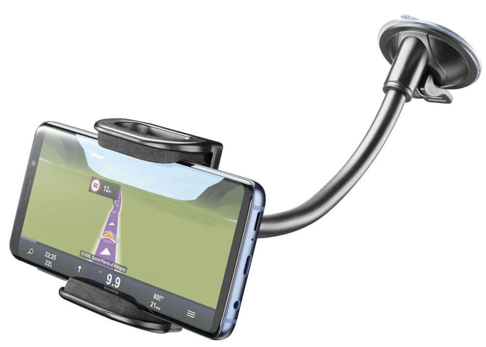 CellularLine Univerzální držák s přísavkou Pilot Flexi pro mobilní telefony, černý, PILOTFLEXIK