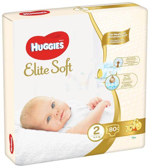Huggies Elite Soft 2 Newborn (4-6 kg) 80 ks