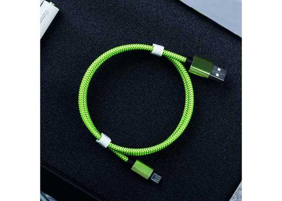 Symfony C1T micro USB-C kabel 1m zelený textilní