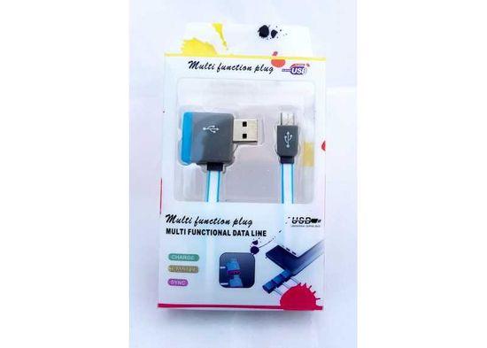 Symfony Multifunkční USB kabel s výstupem na další USB 1m modrý