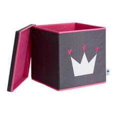 Love It Store It Úložný box na hračky s krytem - šedý, bílá koruna