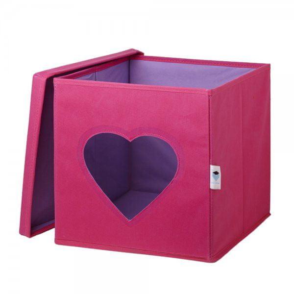 Love It Store It Úložný box na hračky s krytem a okénkem - srdce