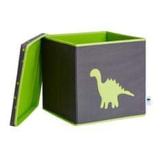 Love It Store It Úložný box na hračky s krytem - šedý, zelený dinosaurus