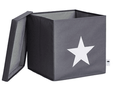 Love It Store It Box na hračky s krytem - šedý, bílá hvězda