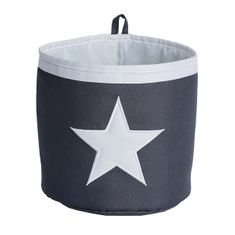 Love It Store It Malý úložný box, kulatý - šedý, bílá hvězda