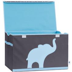 Love It Store It Truhla na hračky - šedá, modrý slon - posílená MDF materiálem