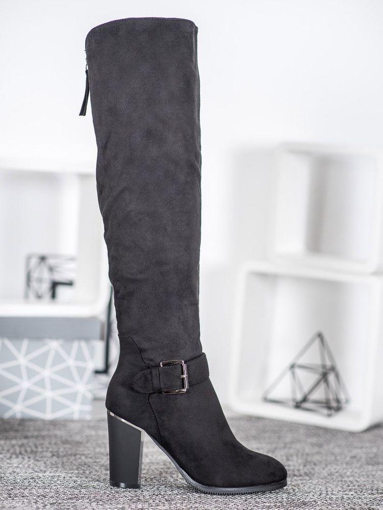 Komfortní kozačky dámské černé na širokém podpatku + Rouška bílá, černé, 36