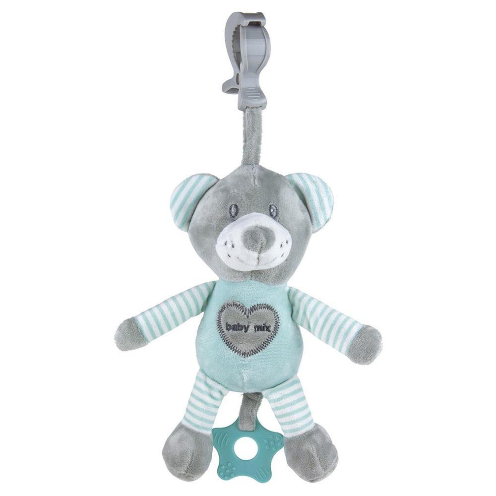 Baby Mix Edukační hrající plyšová hračka s klipem Baby Mix medvěd mátový