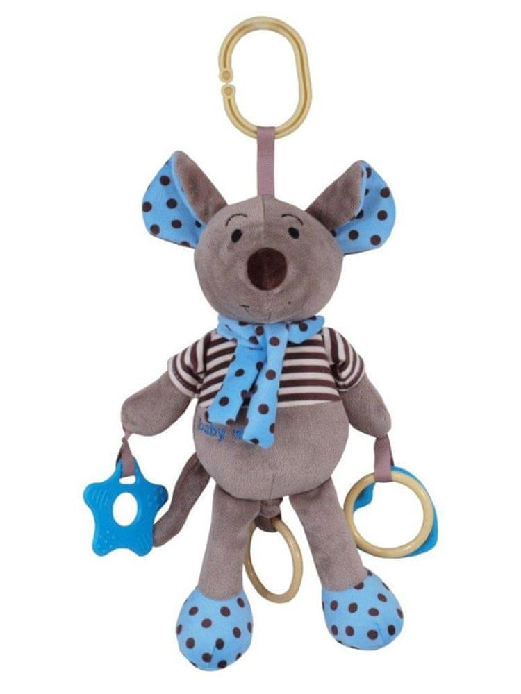 Baby Mix Plyšová hračka se zvukem Baby Mix Myška modrá