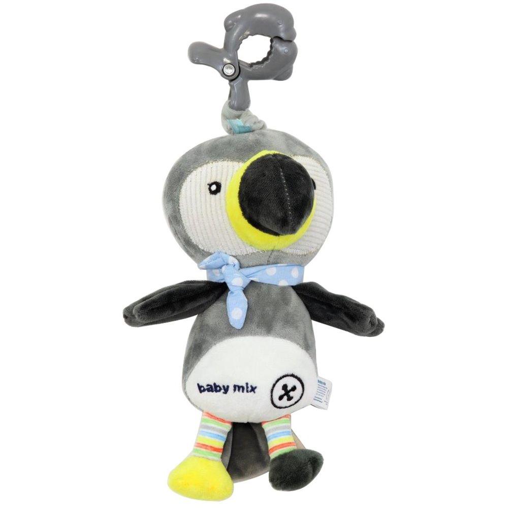 Baby Mix Dětská plyšová hračka s hracím strojkem Baby Mix Tukan šedý