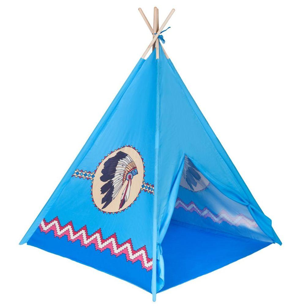 PLAYTO Dětský indiánský stan PlayTo modrý