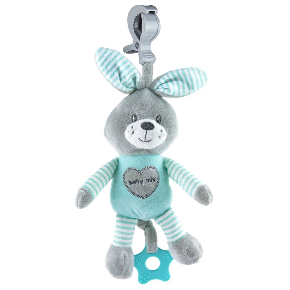 Baby Mix Edukační hrající plyšová hračka s klipem Baby Mix králík mátový