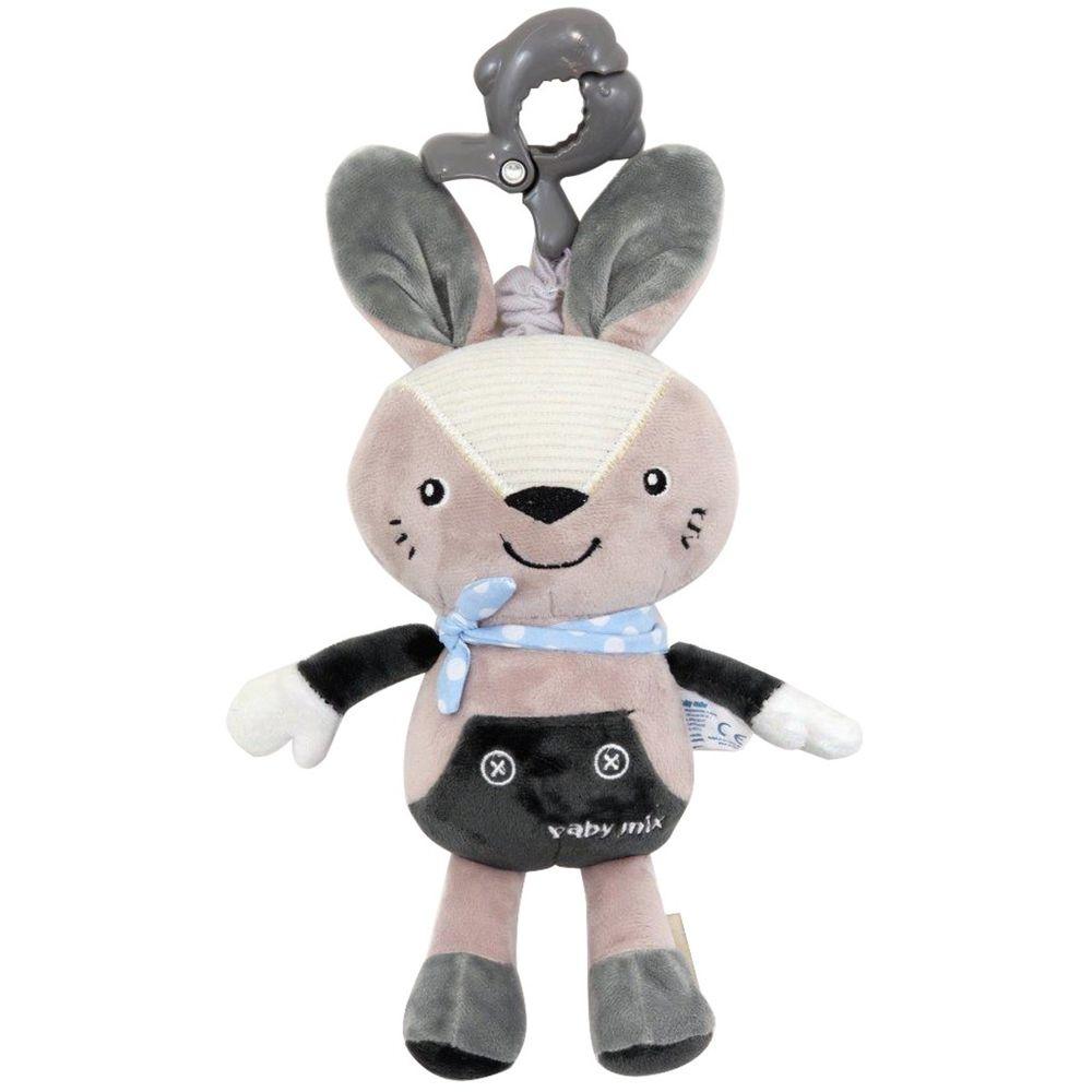 Baby Mix Dětská plyšová hračka s hracím strojkem Baby Mix Králiček šedý